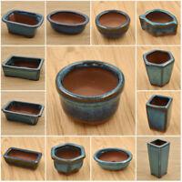 Chinese Bonsai Ceramics Glazed Plant Pot Square Round Shape Home Desktop Decor