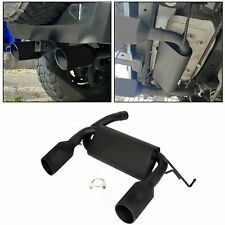 For 07-17 Jeep Wrangler Jk Flat Black Dual CatBack Exhaust Muffler System 2/4Dr