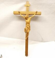 Vtg Oberammergau Hand Carved Wood Crucifix Jesus Cross German Catholic Germany