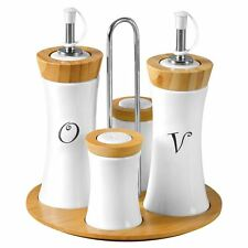 4pc Condiment Set, Oil/Vinegar/Salt/Pepper, Bamboo/Ceramic