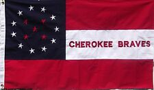 COTTON CHEROKEE BRAVES FLAG - SEWN & EMBROIDERED HISTORICAL CSA CIVIL WAR