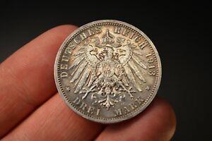 1913-A Germany Prussia Drei Mark Silver Coin Kaiser Wilhelm II BU Light Clean