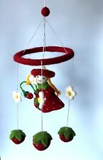 Children's room decoration handcrafted felt hanging and mobile- Strawberry fairy