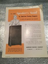 Vintage 1957 Sales Page The 10026 SPEAKER'S STAND by AMERICAN SEATING COMPANY
