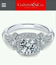 Gabriel&Co Victorian Round Halo Engagement ring with two matching bands