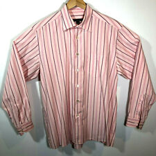 Ermenegildo Zegna Dress Shirt Mens Long Sleeve Pink Stripe Extra Large XL