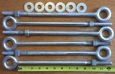"""Eye bolts 6pcs 1/2"""" x 12"""" Drop Forged Galv for wire rope cable Batting Cage Kit"""