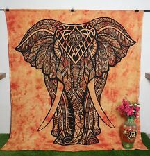 Queen Size Mandala Tapestry Printed Wall hanging Beige Elephant Print Wall Decor