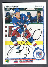 James Patrick Hand Signed 1990-91 Upper Deck Card #185 NY Rangers Autograph