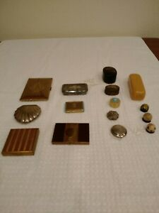 Lot of Vintage Makeup Compacts,Cigarette Case and Trinket Boxes