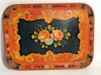 Vintage Ornate Floral Hand Painted Wood Tray Made in Japan See Pics! Make Offer!