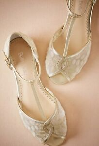 New BHLDN Bella Belle Maisie Embroidered T-Strap Bridal Flats Size 9 1/2
