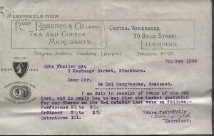 1896 LIVERPOOL, ROBERTS & CO. TEA & COFFEE MERCHANTS, MEMORANDUM, RE SHARES.