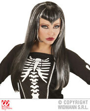 Ladies Black Silver Wig Skeleton Gothc Bride Halloween Fancy Dress Accessory