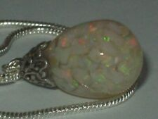 AUSTRALIAN OPAL NECKLACE PENDANT STERLING SILVER FLOATING OPALS GLASS DROP