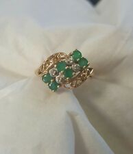 ladies 14k yellow gold round emerald round diamond cluster ring size 6 1/4