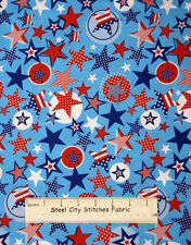 Patriotic Stars Stripes Circles Toss Aqua Blue Fabric 100% Cotton By The Yard