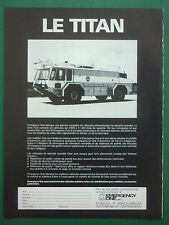 1/1984 PUB EMERGENCY ONE TITAN FIRE FIGHTING VEHICLE AIRPORT POMPIERS FRENCH AD
