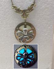 Steampunk OCTOPUS GLOW in the DARK Aqua Gear Fantasy Charm Pendant Necklace