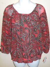 C.D. Petites Div of Cathy Daniels Bling Sequin Paisley Blouse Multi M NWT