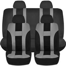 GRAY & BLACK DOUBLE STITCH SEAT COVERS 8PC SET for HYUNDAI ELANTRA TUCSON