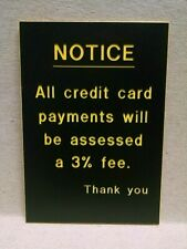 credit card fee sign