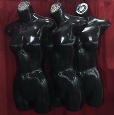 New Womens 3 pc Black Plastic Hanging Jr Half Body Form Hollow Back Mannequin