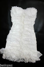 NWT bebe top white overall lace dress ruffle floral strapless tube bustier XS