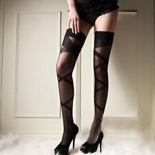 Black Sheer Hold Up Sexy Stockings with Stripe Pattern ~ New ~  UK STOCK