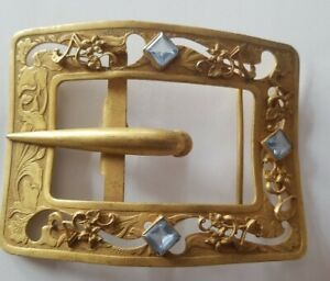 Free Shippin USA 70s Vintage Nice Used Condition Great Gift Idea Nice Patina Country Music Brass Belt Buckle # 4180 3 14 by 2 12