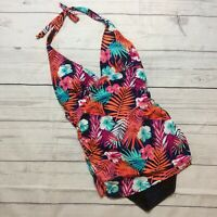 Your Best Look Womens Halter One Piece Swimsuit Size 14 Tropical Floral NWT