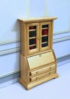 "Dollhouse Miniature Wooden Filled Oak  Book Cabinet   1/2"" Scale"