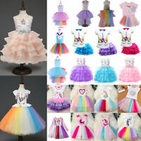Kids Girls Unicorn Tutu Dress Cosplay Costumes Birthday Party Princess Dresses