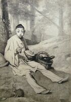 Original Engraving Pierrot Troubled IN His/Her Lunch Signed LEENHOFF1841 1914