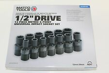 "Matco Tools 1/2"" Dr 13 Piece Metric 6 Point Universal Impact Socket Set New"