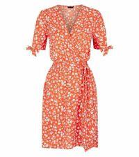 Ex New Look Ditsy Floral Print Orange Wrap Dress Size 4 - 18 (P172)