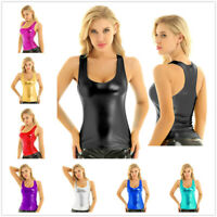 Women Racer Back Shiny Tank Top Sleeveless Cami Vest Bustier Blouse Rave Party
