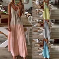 Women Tie Dye Gradient VNeck Dress Casual Stappy Holiday Beach A-Line Maxi Dress