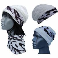 Cool4 Structure Beanie White Zebra Kopftuch-Look - 2erSet Chemo Turban SBK18