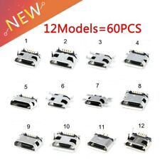60pcs=12 Models Micro USB Connector 5Pin usb Jack Socket Female For MP3/4/5