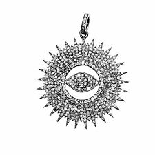 Sterling Silver Evil Eye Pendant With Champagne Diamond and Black Rhodium Plated