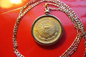 "GOLDEN  SUN COIN Pendant on an 18k 20"" Gold Filled Figaro Chain"