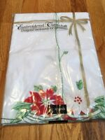 """Christmas Tablecloth Poinsettia Sunweave Linen Corp Polyester-Cotton 65"""" ROUND"""