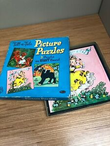 Antique Vintage 1959 Whitman USA Picture Puzzle 3 PACK TellA Tale fairy game kid