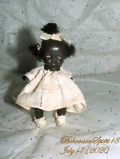 Antique 30's Japan African American Lining dress Double Jointed Bisque 4'' Doll