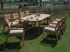 """13 PC DINING TEAK SET GARDEN OUTDOOR PATIO FURNITURE CELLORE STACKING 117"""" OVAL"""