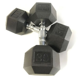 BRAND NEW 30LB PAIR OF RUBBER COATED HEX DUMBBELLS WEIGHTS FOR COMMERCIAL GYM