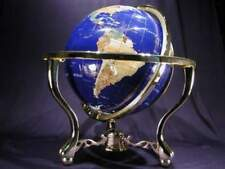 Gem Globe in Solid Brass Frame with Compass-FREE SHIPPING!