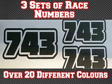"""Los números de carrera 3x 75 mm 3"""" Personalizado Motocross Mx Pegatina de vinilo Calcomanías N5"""