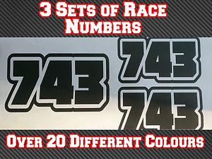 "Race Numbers 3x 75mm 3"" Custom Motocross MX Vinyl Sticker Decals N5"